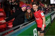 19 January 2019; John Cooney of Ulster with supporters following the Heineken Champions Cup Pool 4 Round 6 match between Leicester Tigers and Ulster at Welford Road in Leicester, England. Photo by Ramsey Cardy/Sportsfile