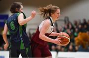22 January 2019; Claire Goggin of Laurel Hill Limerick in action against Lauren Garland of St Louis Carrickmacross during the Subway All-Ireland Schools Cup U19 C Girls Final match between St Louis Carrickmacross and Laurel Hill Limerick at the National Basketball Arena in Tallaght, Dublin. Photo by Brendan Moran/Sportsfile