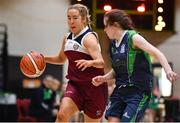 22 January 2019; Jodie O'Halloran of Laurel Hill Limerick in action against Lauren Garland of St Louis Carrickmacross uring the Subway All-Ireland Schools Cup U19 C Girls Final match between St Louis Carrickmacross and Laurel Hill Limerick at the National Basketball Arena in Tallaght, Dublin. Photo by Brendan Moran/Sportsfile
