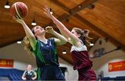 22 January 2019; Áine Loughman of St Louis Carrickmacross action against Emily Mullins of Laurel Hill Limerick during the Subway All-Ireland Schools Cup U19 C Girls Final match between St Louis Carrickmacross and Laurel Hill Limerick at the National Basketball Arena in Tallaght, Dublin. Photo by Brendan Moran/Sportsfile