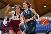22 January 2019; Sarah Corr of St Louis Carrickmacross is dispossessed by Amy Higgins of Laurel Hill Limerick during the Subway All-Ireland Schools Cup U19 C Girls Final match between St Louis Carrickmacross and Laurel Hill Limerick at the National Basketball Arena in Tallaght, Dublin. Photo by Brendan Moran/Sportsfile