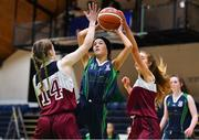 22 January 2019; Caitlin Wilcox of St Louis Carrickmacross in action against Jennifer Duffy, left, and Jana Zundel of Laurel Hill Limerick during the Subway All-Ireland Schools Cup U19 C Girls Final match between St Louis Carrickmacross and Laurel Hill Limerick at the National Basketball Arena in Tallaght, Dublin. Photo by Brendan Moran/Sportsfile