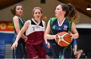 22 January 2019; Áine Loughman of St Louis Carrickmacross in action against Claire Goggin of Laurel Hill Limerick during the Subway All-Ireland Schools Cup U19 C Girls Final match between St Louis Carrickmacross and Laurel Hill Limerick at the National Basketball Arena in Tallaght, Dublin. Photo by Brendan Moran/Sportsfile