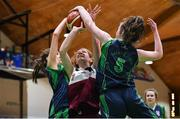 22 January 2019; Claire Goggin of Laurel Hill Limerick in action against Sarah Corr, left, and Ella Carolan of St Louis Carrickmacross during the Subway All-Ireland Schools Cup U19 C Girls Final match between St Louis Carrickmacross and Laurel Hill Limerick at the National Basketball Arena in Tallaght, Dublin. Photo by Brendan Moran/Sportsfile