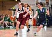 22 January 2019; Claire Goggin of Laurel Hill Limerick in action against Áine Loughman of St Louis Carrickmacross during the Subway All-Ireland Schools Cup U19 C Girls Final match between St Louis Carrickmacross and Laurel Hill Limerick at the National Basketball Arena in Tallaght, Dublin. Photo by Brendan Moran/Sportsfile
