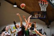 22 January 2019; Sarah Corr of St Louis Carrickmacross in action against Amy Higgins, left, and Isabelle Murphy of Laurel Hill Limerick during the Subway All-Ireland Schools Cup U19 C Girls Final match between St Louis Carrickmacross and Laurel Hill Limerick at the National Basketball Arena in Tallaght, Dublin. Photo by Brendan Moran/Sportsfile