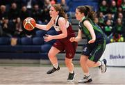 22 January 2019; Claire Goggin of Laurel Hill Limerick in action against /Sarah Martin of St Louis Carrickmacross during the Subway All-Ireland Schools Cup U19 C Girls Final match between St Louis Carrickmacross and Laurel Hill Limerick at the National Basketball Arena in Tallaght, Dublin. Photo by Brendan Moran/Sportsfile