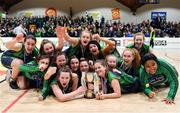 22 January 2019; The St Louis Carrickmacross team celebrate with the cup after the Subway All-Ireland Schools Cup U19 C Girls Final match between St Louis Carrickmacross and Laurel Hill Limerick at the National Basketball Arena in Tallaght, Dublin. Photo by Brendan Moran/Sportsfile