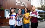 22 January 2019; In attendance are, from left, Eimear Scally of UL and Cork, Muireann Atkinson of DCU and Monaghan, Niamh McEvoy of DIT and Dublin, and Siobhán Divilly of NUI Galway, at the launch of the 2019 Gourmet Food Parlour HEC Ladies Football Championships at Gourmet Food Parlour's Northwood, Santry outlet. Gourmet Food Parlour are the official sponsors of the HEC Ladies Football third-level Championships. Photo by David Fitzgerald/Sportsfile