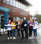 22 January 2019; In attendance, from left, are Eimear Scally of UL and Cork, Muireann Atkinson of DCU and Monaghan, Lorraine Heskin, MD of Gourmet Foot Parlour, LGFA CEO Helen O'Rourke, Donal Barry, Chairperson of HEC, Niamh McEvoy of DIT and Dublin, Siobhán Divilly of NUI Galway and Galway, at the launch of the 2019 Gourmet Food Parlour HEC Ladies Football Championships at Gourmet Food Parlour's Northwood, Santry outlet. Gourmet Food Parlour are the official sponsors of the HEC Ladies Football third-level Championships. Photo by David Fitzgerald/Sportsfile