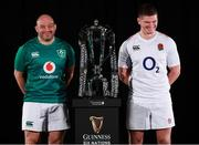 23 January 2019; Ireland captain Rory Best, left, and England captain Owen Farrell with the Six Nations trophy during the 2019 Guinness Six Nations Rugby Championship Launch at the Hurlingham Club in London, England. Photo by Ian Walton/Sportsfile