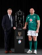 23 January 2019; Ireland head coach Joe Schmidt and captain Rory Best with the Six Nations trophy during the 2019 Guinness Six Nations Rugby Championship Launch at the Hurlingham Club in London, England. Photo by Ian Walton/Sportsfile