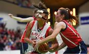 23 January 2019; Niamh Kenny of Holy Faith Clontarf in action against Eve Hannigan of St Vincent's SS, Cork, during the Subway All-Ireland Schools Cup U19 A Girls Final match between Holy Faith Clontarf and St Vincent's SS, Cork, at the National Basketball Arena in Tallaght, Dublin. Photo by Piaras Ó Mídheach/Sportsfile
