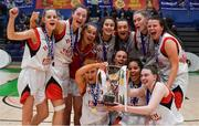 23 January 2019; Holy Faith Clontarf players celebrate after the Subway All-Ireland Schools Cup U19 A Girls Final match between Holy Faith Clontarf and St Vincent's SS, Cork, at the National Basketball Arena in Tallaght, Dublin. Photo by Piaras Ó Mídheach/Sportsfile