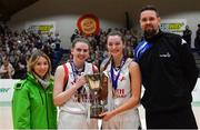 23 January 2019; Holy Faith Clontarf joint-captains Bronagh Power Cassidy, left, and Maeve O'Seaghdha are presented with the trophy by Kirby Axon of Subway and Jason Killeen of Basketball Ireland after the Subway All-Ireland Schools Cup U19 A Girls Final match between Holy Faith Clontarf and St Vincent's SS, Cork, at the National Basketball Arena in Tallaght, Dublin. Photo by Piaras Ó Mídheach/Sportsfile