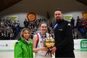 23 January 2019; Bronagh Power Cassidy of Holy Faith Clontarf is presented with her MVP award by Kirby Axon of Subway and Jason Killeen of Basketball Ireland after the Subway All-Ireland Schools Cup U19 A Girls Final match between Holy Faith Clontarf and St Vincent's SS, Cork, at the National Basketball Arena in Tallaght, Dublin. Photo by Piaras Ó Mídheach/Sportsfile