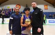 23 January 2019; Bryan Valenzuela of Le Chéile Tyrellstown is presented with his MVP award by Matthew Hall of Basketball Ireland, left, and Jason Killeen of Basketball Ireland after the Subway All-Ireland Schools Cup U16 C Boys Final match between Le Chéile Tyrellstown and Mount St Michael Rosscarbery at the National Basketball Arena in Tallaght, Dublin. Photo by Piaras Ó Mídheach/Sportsfile