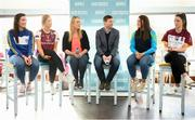22 January 2019; In attendance, from left, are Niamh McEvoy of DIT and Dublin, Siobhán Divilly of NUI Galway and Galway, Lorraine Heskin, MD of Gourmet Foot Parlour, GFP Ambassador and former Kerry footballer Tomás Ó Sé, Muireann Atkinson of DCU and Monaghan and Eimear Scally of UL and Cork at Gourmet Food Parlour's Northwood, Santry outlet. Gourmet Food Parlour are the official sponsors of the HEC Ladies Football third-level Championships. Photo by David Fitzgerald/Sportsfile