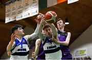 23 January 2019; Eoin McDonnell of St Brendan's Belmullet, supported by team-mate Dylan Walker, in action against Colm O'Reilly, right, and Adam Dalton of Waterpark College during the Subway All-Ireland Schools Cup U19 C Boys Final match between St Brendan's Belmullet and Waterpark College at the National Basketball Arena in Tallaght, Dublin. Photo by Piaras Ó Mídheach/Sportsfile