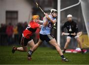 23 January 2019; Jake Malone of UCD in action against Niall O'Leary of UCC during the Electric Ireland Fitzgibbon Cup Group A Round 2 match between University College Cork and University College Dublin at Mardyke in Cork. Photo by Stephen McCarthy/Sportsfile