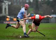 23 January 2019; Conor Browne of UCC in action against Rob Lennon of UCD during the Electric Ireland Fitzgibbon Cup Group A Round 2 match between University College Cork and University College Dublin at Mardyke in Cork. Photo by Stephen McCarthy/Sportsfile