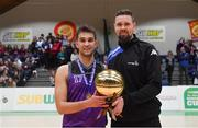 23 January 2019; Mikolaj Sienicki of Waterpark College is presented with his MVP award by Jason Killeen of Basketball Ireland after the Subway All-Ireland Schools Cup U19 C Boys Final match between St Brendan's Belmullet and Waterpark College at the National Basketball Arena in Tallaght, Dublin. Photo by Piaras Ó Mídheach/Sportsfile