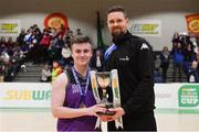 23 January 2019; Waterpark College captain Niall Purcell is presented with the cup by Jason Killeen of Basketball Ireland after the Subway All-Ireland Schools Cup U19 C Boys Final match between St Brendan's Belmullet and Waterpark College at the National Basketball Arena in Tallaght, Dublin. Photo by Piaras Ó Mídheach/Sportsfile