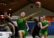 23 January 2019; Ava McCleane of Coláiste Einde, centre, in action against Laurie Adams, left, and Amy Harrington of Pobailscoil Inbhear Sceine Kenmare during the Subway All-Ireland Schools Cup U16 A Girls Final match between Coláiste Einde and Pobailscoil Inbhear Sceine Kenmare at the National Basketball Arena in Tallaght, Dublin. Photo by Piaras Ó Mídheach/Sportsfile