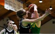 23 January 2019; Kara McCleane of Coláiste Einde in action against Robyn Mayhew of Pobailscoil Inbhear Sceine Kenmare during the Subway All-Ireland Schools Cup U16 A Girls Final match between Coláiste Einde and Pobailscoil Inbhear Sceine Kenmare at the National Basketball Arena in Tallaght, Dublin. Photo by Piaras Ó Mídheach/Sportsfile
