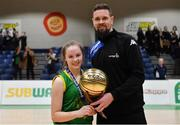 23 January 2019; Kara McCleane of Coláiste Einde is presented with her MVP award by Jason Killeen of Basketball Ireland after the Subway All-Ireland Schools Cup U16 A Girls Final match between Coláiste Einde and Pobailscoil Inbhear Sceine Kenmare at the National Basketball Arena in Tallaght, Dublin. Photo by Piaras Ó Mídheach/Sportsfile