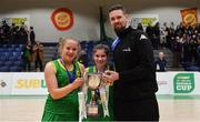 23 January 2019; Coláiste Einde captains Ava McCleane, left, and Ilena Davoren are presented with the cup by Jason Killeen of Basketball Ireland after the Subway All-Ireland Schools Cup U16 A Girls Final match between Coláiste Einde and Pobailscoil Inbhear Sceine Kenmare at the National Basketball Arena in Tallaght, Dublin. Photo by Piaras Ó Mídheach/Sportsfile