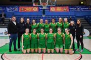 23 January 2019; The Coláiste Einde squad before the Subway All-Ireland Schools Cup U16 A Girls Final match between Coláiste Einde and Pobailscoil Inbhear Sceine Kenmare at the National Basketball Arena in Tallaght, Dublin. Photo by Piaras Ó Mídheach/Sportsfile
