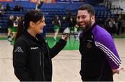 23 January 2019; Waterpark College coach Mark Dunne is interviewed by Mary McGuire after the Basketball Ireland during the Subway All-Ireland Schools Cup U19 C Boys Final match between St Brendan's Belmullet and Waterpark College at the National Basketball Arena in Tallaght, Dublin. Photo by Piaras Ó Mídheach/Sportsfile