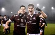 23 January 2019; Nathan Mullen, left, and Owen Gallagher of NUI Galway celebrate following the Electric Ireland Sigerson Cup Round 2 match between Queens University Belfast and NUI Galway at The Dub in Belfast, Co Antrim. Photo by David Fitzgerald/Sportsfile
