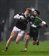 23 January 2019; Peter Cooke of NUI Galway in action against Niall Keenan of Queens University Belfast during the Electric Ireland Sigerson Cup Round 2 match between Queens University Belfast and NUI Galway at The Dub in Belfast, Co Antrim. Photo by David Fitzgerald/Sportsfile