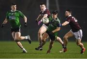 23 January 2019; James McCauley of Queens University Belfast in action against Stephen Brennan, right, and Cein Darcy of NUI Galway during the Electric Ireland Sigerson Cup Round 2 match between Queens University Belfast and NUI Galway at The Dub in Belfast, Co Antrim. Photo by David Fitzgerald/Sportsfile