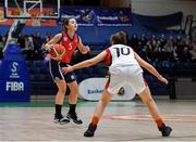 23 January 2019; Eve Hannigan of St Vincent's SS, Cork, in action against Maria Long of Holy Faith Clontarf during the Subway All-Ireland Schools Cup U19 A Girls Final match between Holy Faith Clontarf and St Vincent's SS, Cork, at the National Basketball Arena in Tallaght, Dublin. Photo by Piaras Ó Mídheach/Sportsfile