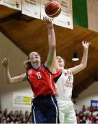 23 January 2019; Bronagh Power Cassidy of Holy Faith Clontarf in action against Lauryn Homan of St Vincent's SS, Cork, during the Subway All-Ireland Schools Cup U19 A Girls Final match between Holy Faith Clontarf and St Vincent's SS, Cork, at the National Basketball Arena in Tallaght, Dublin. Photo by Piaras Ó Mídheach/Sportsfile