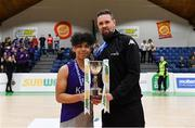 23 January 2019; Le Chéile Tyrellstown captain Bryan Valenzuela is presented with the trophy by Jason Killeen of Basketball Ireland after the Subway All-Ireland Schools Cup U16 C Boys Final match between Le Chéile Tyrellstown and Mount St Michael Rosscarbery at the National Basketball Arena in Tallaght, Dublin. Photo by Piaras Ó Mídheach/Sportsfile