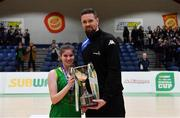23 January 2019; Coláiste Einde captain Ilena Davoren is presented with the cup by Jason Killeen of Basketball Ireland after the Subway All-Ireland Schools Cup U16 A Girls Final match between Coláiste Einde and Pobailscoil Inbhear Sceine Kenmare at the National Basketball Arena in Tallaght, Dublin. Photo by Piaras Ó Mídheach/Sportsfile