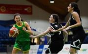 23 January 2019; Ellen Power of Coláiste Einde in action against Aoife Crowley, centre, and Tania Salvado of Pobailscoil Inbhear Sceine Kenmare during the Subway All-Ireland Schools Cup U16 A Girls Final match between Coláiste Einde and Pobailscoil Inbhear Sceine Kenmare at the National Basketball Arena in Tallaght, Dublin. Photo by Piaras Ó Mídheach/Sportsfile