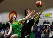 23 January 2019; Tania Salvado of Pobailscoil Inbhear Sceine Kenmare in action against Kara McCleane of Coláiste Einde during the Subway All-Ireland Schools Cup U16 A Girls Final match between Coláiste Einde and Pobailscoil Inbhear Sceine Kenmare at the National Basketball Arena in Tallaght, Dublin. Photo by Piaras Ó Mídheach/Sportsfile