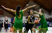 23 January 2019; Tania Salvado of Pobailscoil Inbhear Sceine Kenmare in action against Ellen Power, left, and  Grace Webb of Coláiste Einde during the Subway All-Ireland Schools Cup U16 A Girls Final match between Coláiste Einde and Pobailscoil Inbhear Sceine Kenmare at the National Basketball Arena in Tallaght, Dublin. Photo by Piaras Ó Mídheach/Sportsfile