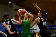 23 January 2019; Ellen Power of Coláiste Einde in action against Laurie Adams, left, and Tania Salvado of Pobailscoil Inbhear Sceine Kenmare during the Subway All-Ireland Schools Cup U16 A Girls Final match between Coláiste Einde and Pobailscoil Inbhear Sceine Kenmare at the National Basketball Arena in Tallaght, Dublin. Photo by Piaras Ó Mídheach/Sportsfile