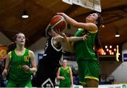 23 January 2019; Ellen Power of Coláiste Einde in action against Clionadh Daly of Pobailscoil Inbhear Sceine Kenmare during the Subway All-Ireland Schools Cup U16 A Girls Final match between Coláiste Einde and Pobailscoil Inbhear Sceine Kenmare at the National Basketball Arena in Tallaght, Dublin. Photo by Piaras Ó Mídheach/Sportsfile