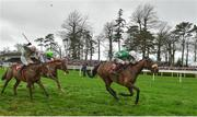 24 January 2019; Presenting Percy, with Davy Russell up, on their way to winning the John Mulhern Galmoy Hurdle after jumping the last from third place Killultagh Vic, left, with David Mullins and fourth place Limini, centre, with Rachel Blackmore up during Gowran Park Racing at Gowran Park Racecourse in Kilkenny. Photo by Matt Browne/Sportsfile