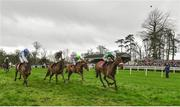 24 January 2019; Presenting Percy, with Davy Russell up, on their way to winning the John Mulhern Galmoy Hurdle after jumping the last from second place Bapaume with Paul Townend, centre, third place Killultagh Vic, left, with David Mullins and fourth place Limini, far side, with Rachel Blackmore during Gowran Park Racing at Gowran Park Racecourse in Kilkenny. Photo by Matt Browne/Sportsfile