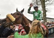 24 January 2019; Davy Russell on Presenting Percy after winning the John Mulhern Galmoy Hurdle after jumping the last during Gowran Park Racing at Gowran Park Racecourse in Kilkenny. Photo by Matt Browne/Sportsfile