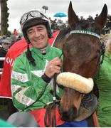 24 January 2019; Davy Russell with Presenting Percy after winning the John Mulhern Galmoy Hurdle after jumping the last during Gowran Park Racing at Gowran Park Racecourse in Kilkenny. Photo by Matt Browne/Sportsfile