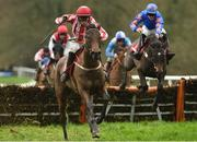 24 January 2019; Allez Kal, with Cathal Landers up, jumps the last on their way to winning the Adare Manor Opportunity Handicap Hurdle during Gowran Park Racing at Gowran Park Racecourse in Kilkenny. Photo by Matt Browne/Sportsfile
